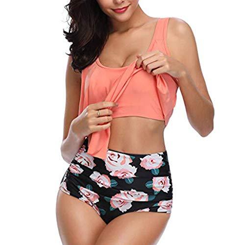 HOT1950s Damen 2-teiliges Bikini-Set im Bohemia-Stil, sexy Badeanzug, hohe Taille, gepolsterter Halter, Strand, Badeanzug, Tankini-Set mit Blumenmuster Gr. M, Orange - Low-rise-brasilianischen Stretch-hose