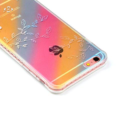 iPhone 6S Plus Hülle, iPhone 6 Plus Hülle, Gift_Source [ Liebe Rose ] Ultra Dünn Weiche Silikon Schutzhülle TPU Bumper Case Schutz Handy Hülle Case Tasche Etui Backcover Slim case für iPhone 6S Plus/6 E1-Blume & Blatt