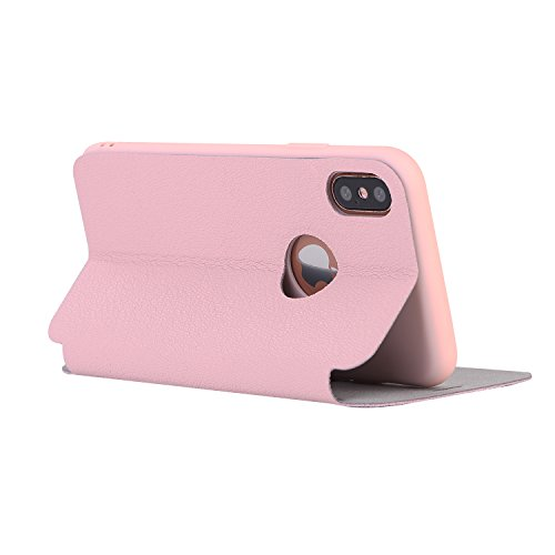 DBIT iphone X Coque - Cuir Microfibre PU Leather Flip Wallet Etui - TPU Cover Protection Shell Housse Case pour iphone X,Rouge Pink