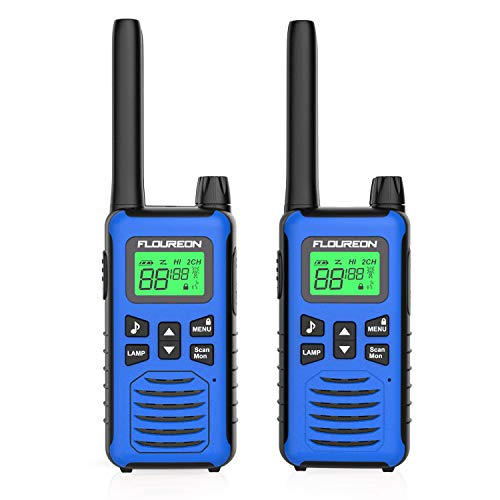 FLOUREON 2X PMR Funkgeräte Set 16 Kanäle Walkie Talkies 2-Wege Radio Walki Talki Funkhandy Interphone mit LC-Display 5KM, Blau