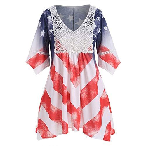 kleid Amerikanische Flagge Drucken V-Ausschnitt Spitzen Asymmetrisches Ausgestelltes Ärmel T Shirts Sommerkleid Frauen A-Linie Mini Strandkleid Festlich Kleider ()