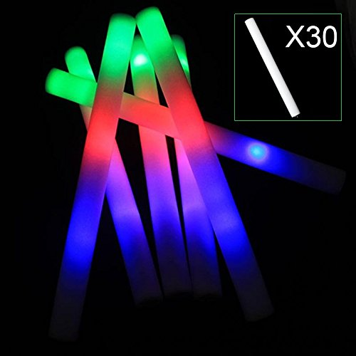 Hrph 30pcs Light Up Multicolor LED-Schaum-Stock-Wands Rally Rave Cheer Schlagstöcke Partei Flashing Glow Stick Licht Sticks
