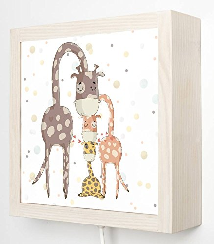Kama-Design Kinder Wandlampe LED Box Traumwelten (Giraffenfamilie)