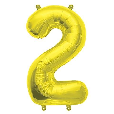 40cm Air Remplissez Nombre 2 or Ballon Foil (vendu non gonflé)