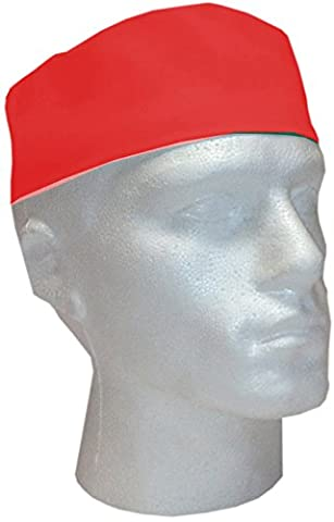 Road Master Polyester Cotton Unisex-Adult Professional Catering Chefs Skull Cap, Red