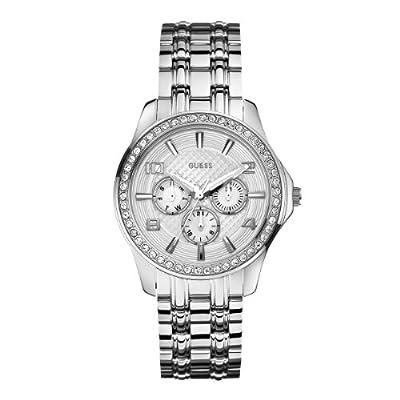 Guess W0147L1 - Reloj analógico de cuarzo para mujer con correa de acero inoxidable, color plateado de Guess