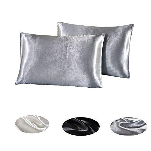 2PC Seide 100% Polyester Satin Kissenbezüge für Haut & Haar Gesundheit-weich & Hypoallergen, silbergrau, 20inch * 30inch -