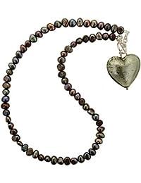 Amanti Venezia–Collar con corazón de cristal de Murano y perlas de 51cm