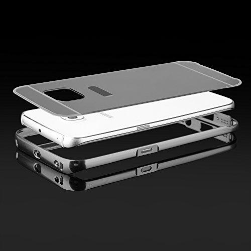 """BUMPER LUXURY + Deckel SPIEGEL für Apple iPhone 6 4,7"""" Handytasche Hülle Cover Case Schutzhülle Tasche (gold) grau"""