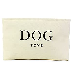 Cream-Canvas-Dog-Toy-Basket-High-Quality-Basket-for-Dogs-Toy-Storage-40cms-16in-x-30cms-12in-x-25cms-10in