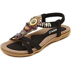 Mujeres Bohemia Sandalia Romanas Zapatos De Playa Calzado Chanclas Chancletas Zapatos Planos Flip Flop Negro 38 EU