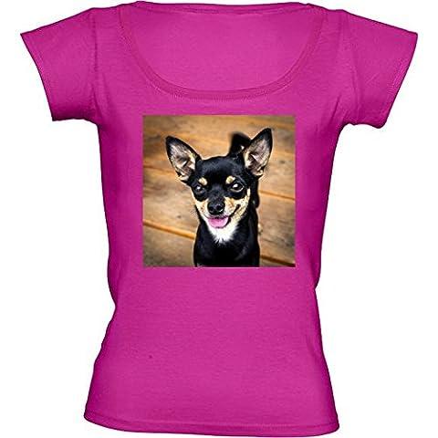 Camiseta Cuello Redondo para Mujer - Lindo Perrito Perro Chiwawa by Petra