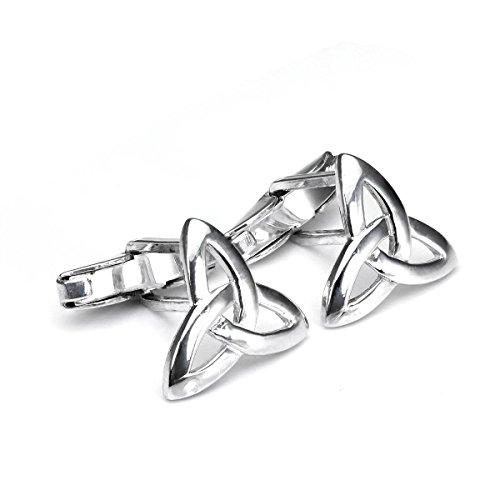 Sterling Silber keltischer Knoten Manschettenknöpfe | Scharnier Rückseite leicht schwenkbar