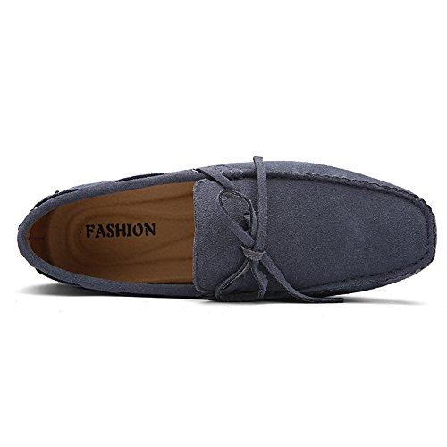 Rismart Hommes Confort Suede Mocassins Doux Cuir Véritable Chaussures de Conduite 3660M Gris