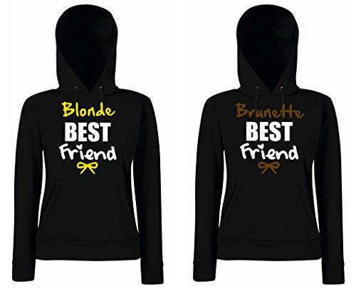 TRVPPY - Couple Partenaire 2x Sweat Pull à capuche / modèle BLONDE + BRUNETTE BEST FRIENDS / pour Femme Noir
