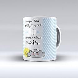 Taza con original mensaje para desayunar con una sonrisa.