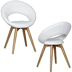 2 x Wohnling linda silla de comedor de madera y de goma de madera, asiento de piel sintética de colour blanco