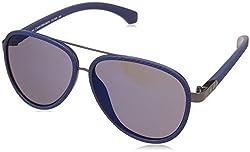 Calvin Klein Jeans Mirrored Aviator Unisex Sunglasses - (Calvin Klein Jeans 758 405 59 S|59|Blue Color)