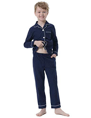 Hawiton Jungen Schlafanzug Baumwolle Pyjama mit Knopfleiste Set Einfarbiger Zweiteiliger Schlafanzug Langarm Shirt und Pyjamahose