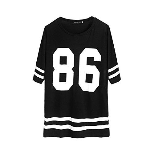 JAGENIE Frauen Baseball T-Shirt Top Varsity Lose Kleid Nummer Print Kurzarm, XL - Varsity Baseball