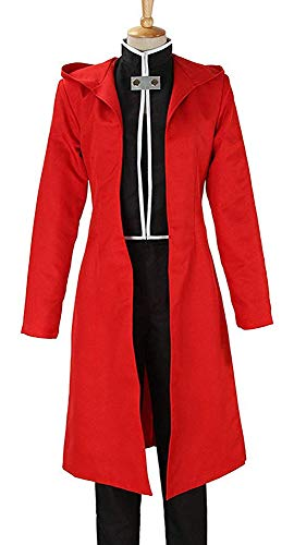 I TRUE ME US-Größe Fullmetal Alchemist Colonel Roy Mustang Leutnant Riza Hawkeye Cosplay Kostüm Schwarz und Rot Kampfanzug 5-teiliger Anzug,Women,M