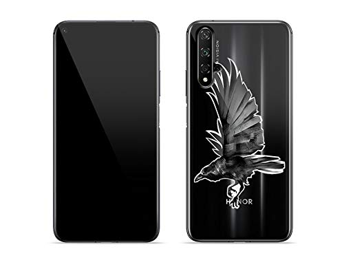 etuo Hülle für Huawei Honor 20 - Hülle Crystal Design - Schwarze Krähe Handyhülle Schutzhülle Etui Case Cover Tasche für Handy (Linien Krähen)