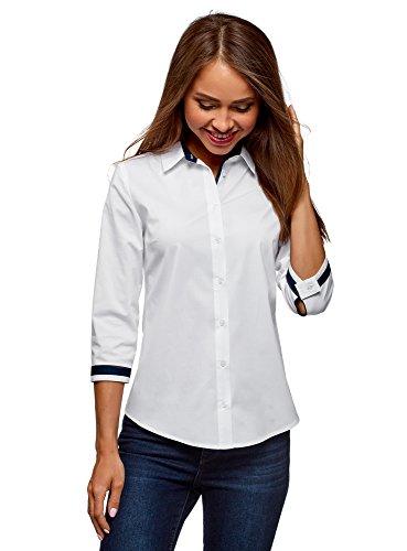 Oodji ultra donna camicetta in cotone con manica a 3/4, bianco, it 48 / eu 44 / xl