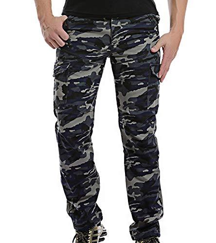 AYG Velour Hose Warm Herren Cargo Pants(dark blue camo,38) - Herren Velour Pant