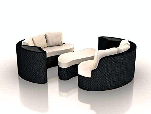 Rattaninsel EMMI schwarz Lounge Liegeinsel Sofa Garnitur Sitzecke Sitzgruppe Tisch Sitz Ecke Bank Stuhl Insel Gruppe Esstisch Sitzgruppe Liege Sonnenschutz Segel
