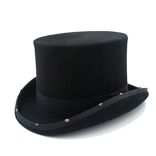 HHF Caps y Sombreos Sombrero de copa Steampunk sombrero hecho a mano remache Sombrerero loco Vintage mujeres hombres sombrero de fieltro de lana tradicional (Color : Negro, Size : 57CM)