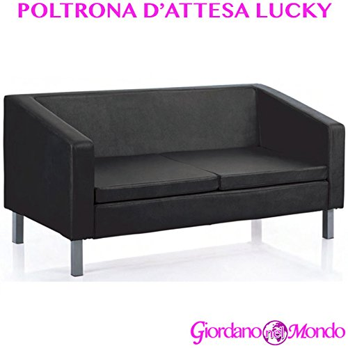 Poltrona d'attesa seduta a 3 posti in ecopelle lucky black arredamento professionale