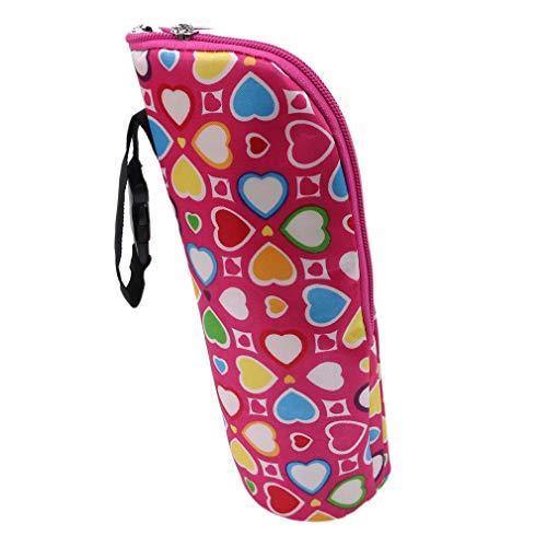 Hengxing Thermische Flasche Tasche Tragbare Hang Kinderwagen Isolierte Babyschale Flasche Tasche, Rose rote Herzform