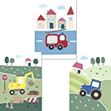 LALELU-Prints 3er Set Poster Kinderzimmer Deko Junge Bilder Fahrzeuge Bagger Traktor Feuerwehr DIN A4 I Babyzimmer Baby I Wandbilder Kinderbilder Babybilder