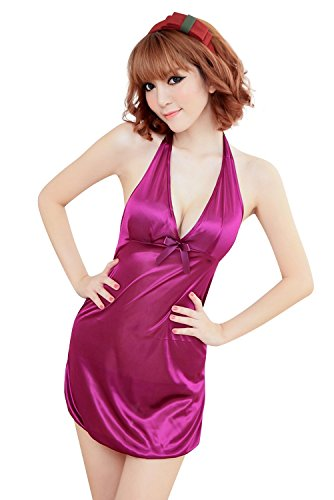 Shangrui Femminile Stile Romantico Pigiama Viola Smooth Ice Seta Camicia da Notte e G-string Suit W155 Viola