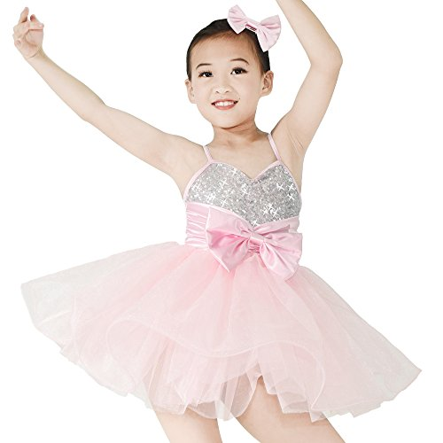 MiDee Kinder Hemdchen, Oder So Was Pailletten Big Bow Ballett Tanz Kostüm Party Kleid (Rosa, XSC)