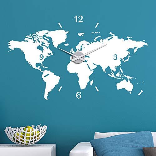 KLEBEHELD® Wandtattoo Uhr Weltkarte Erde Globus Karte Farbe dunkelgrau, Größe 100x60cm | Uhrwerk silber, Umlauf 44cm