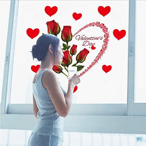 TOYP Rose Love Flower Schlafzimmer Wohnzimmer Wandbild selbstklebend abnehmbar umweltfreundliche Wandaufkleber wasserdicht Aufkleber Dekoration