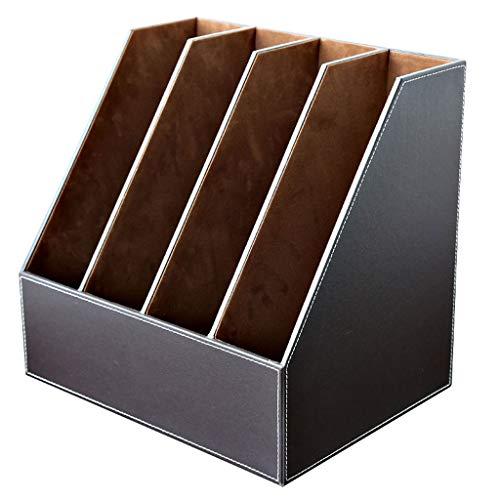 Büro 4-reihiger Dateihalter - Magazin Zeitung Papierhalter Dateimanager (schwarz, braun) (Farbe : Brown) (Brown-leder-bücherregal)