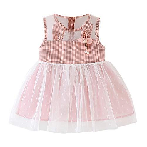 SANFASHION Kind Baby Kleid, Mädchen Plaid Druckte Tüll Partykleid Partei Prinzessin Dress Ärmellos ()