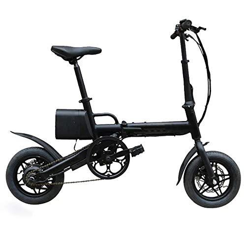 Elektro-Moped-Fahrrad 36V 6.6AH 250W Schwarz 12 Zoll Stadt Folding Elektro-Fahrrad 20 km/h 50KM gefahrene E Bike leistungsstarker Motor (Farbe : Schwarz, Größe : 123x93cm)