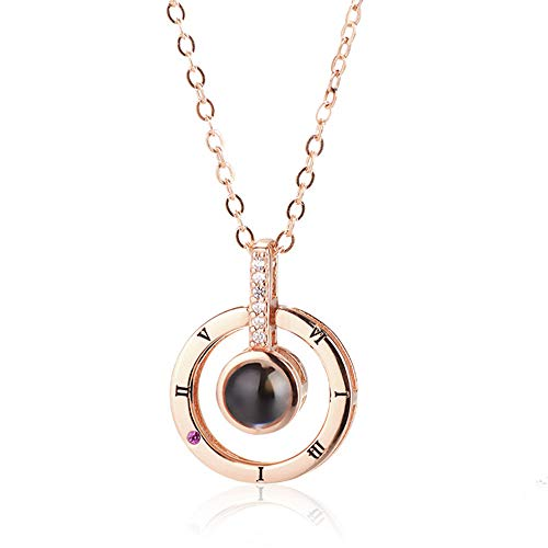 QueenDer Women Necklace Love Memories Clavicle Necklace 100 Languages I Love You Zircon Pendant Chain with 18inch for Women Girls Rose Gold