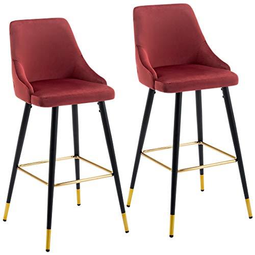 Duhome 2x sgabelli da bar rosso tessuto (velluto) quadrato con schienale piedini in metallo selezione colore 5170g