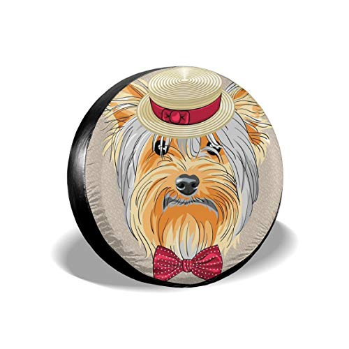 orkie With Cute Straw Boater And Bow Tie Hand Drawn Gentleman Dog Polyester Universal Spare Wheel Tire Cover Wheel Covers Jeep Trailer RV SUV Truck Camper Travel Trailer Accessorie ()