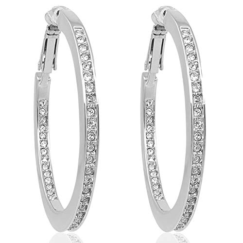 Creolen mit Kristallen von Swarovski® Silber Ohrringe NOBEL SCHMUCK®