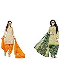 Jevi Prints Women's Dress Material (Pack of 2)(Varsha-2365&Rimzim-2007_Item 1 Color Beige|Item 2 Color Olive_Free Size)