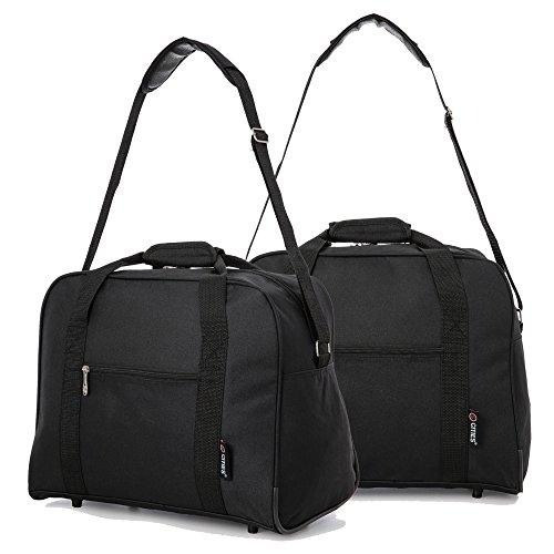 WIZZ AIR 44L Maximal Größe des Handgepäck 42x32x25cm Bordgepäck Gepäck Tasche (Schwarz) 2 x Schwarz