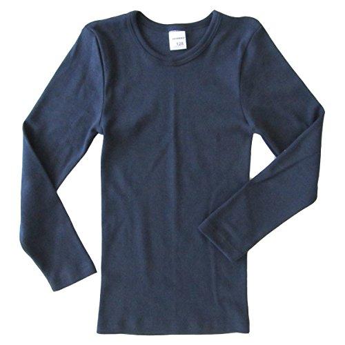 HERMKO 2830 3er Pack Kinder Langarm Unterhemd Mädchen + Jungen (Weitere Farbe), Farbe:Marine, Größe:140
