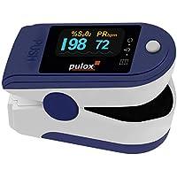 PULOX, PO-200A, Pulsossimetro con funzione di allarme e pulsazione, con accessori, colore a scelta, colore blu