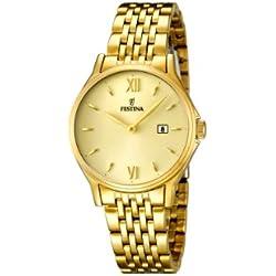 Festina 0 - Reloj de cuarzo para mujer, con correa de acero inoxidable, color dorado
