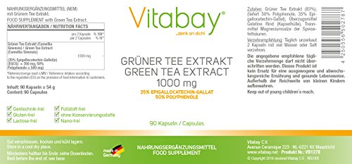 Grüner Tee Extrakt – EGCG – 1000 mg – 90 Kapseln – Fettverbrennung – Energie – Konzentrationsfähigkeit – Gewichtsreduktion
